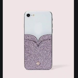 kate spade glitter double sticker pocket lilac nwt